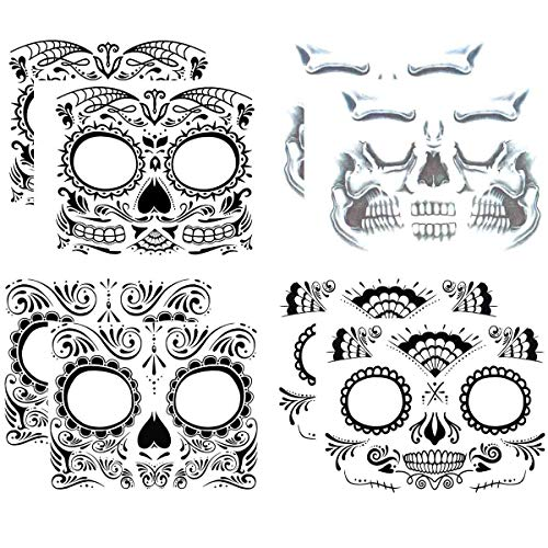 Eye Makeup For Halloween Men (COKOHAPPY Day of the Dead, Skeleton Face Tattoo Sticker, 8 Sheets Sugar Skull, Red Roses Temporary Face Tattoo Halloween Makeup Kit for)