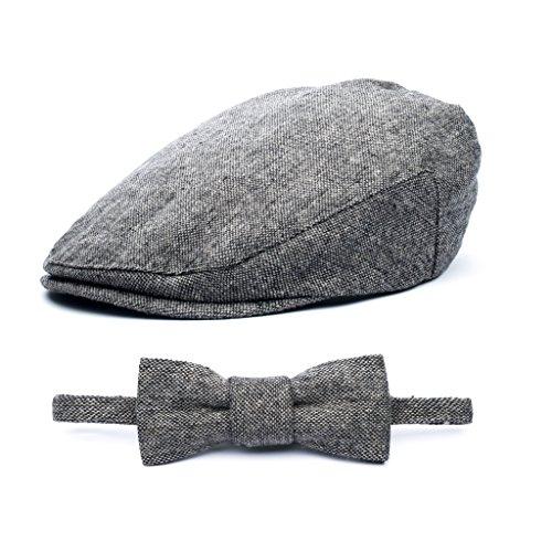 (Baby Boy Ring Bearer Pageboy Flat Ivy Newsboy Tweed Golf Cap Hat-(L 54)
