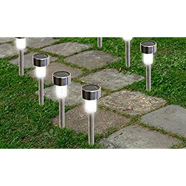 SolarEK Solar Powered Stainless Steel Outdoor Lawn Landscape Garden LED Path Lights (16 Pack)