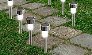 Beautiful SolarEK Water Resistant Stainless Steel LED Solar Garden Path Lights   Pack  Of 16