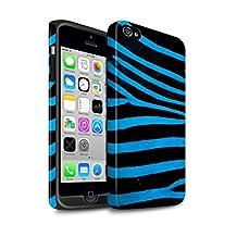 STUFF4 Matte Tough Shock Proof Phone Case for Apple iPhone 4/4S / Blue Design / Zebra Animal Skin/Print Collection