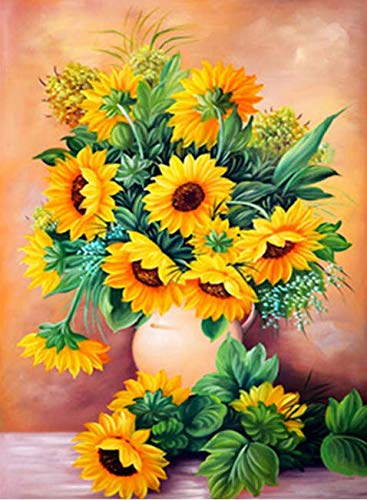 LeePakQ 12×16 inches DIY 5D Diamond Painting Full Sunflowers Paint by Numbers Diamond Embroidery Dotz Kit Arts Crafts for Decor,Blooming Sunflowers