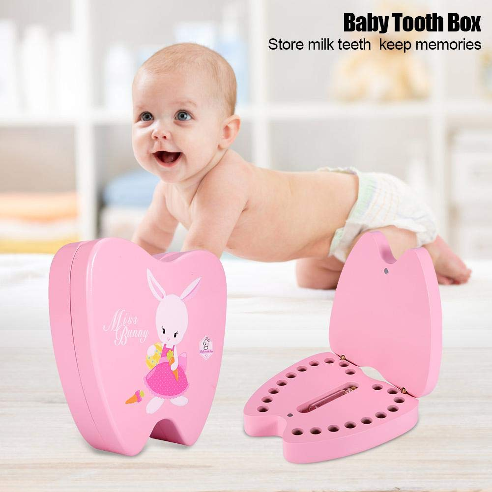 #2 Baby Teeth Save Box Organizer Teeth Keepsake Box Wooden Deciduous Tooth Collection Storage Souvenir Box Case for Baby Milk Teeth and Baby Hair