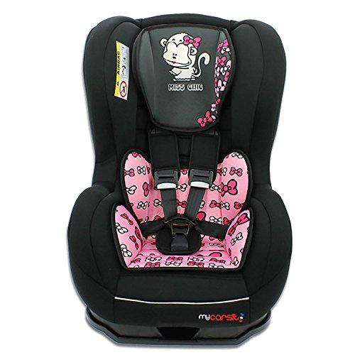 Mycarsit - Kinderautositz SPRINT, ECE Gruppe 0/1 (0 bis 18kg), bis 10kg REBOARD nutzbar, Miss chic