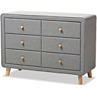 Baxton Studio Jonesy 6 Drawer Fabric Upholstered Dresser in Gray