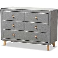 Baxton Studio Jonesy 6 Drawer Fabric Upholstered Dresser in Gray