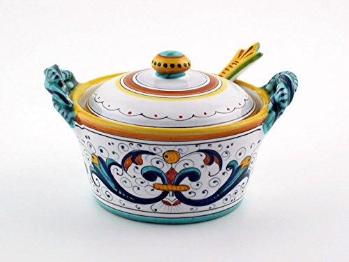 Hand Painted Italian Ceramic Cheese Jar Ricco Deruta - Handmade in Deruta
