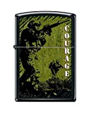 Zippo Custom Lighter Design US Military Army Courage Inscribed Windproof Collectible - Cool Cigarette Lighter Case Made in USA Limited Edition & Rare