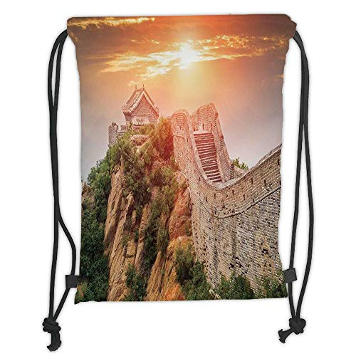 (Custom Printed Drawstring Sack Backpacks Bags,Great Wall of China,Sunrise Horizon on Traditional Stone Building Empire Culture Design,Grey Orange Soft Satin,5 Liter Capacity,Adjustable String Closure,)