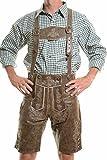 lederhosen4u Men's Bavarian Lederhosen Rustic CRACKER - Oktoberfest Leather Trousers 36