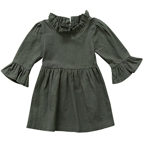 Linen Pullover - Annvivi Fall & Winter Baby Girls Dark Natural Olive Linen Ruffled Pullover Dress (Dark Olive, 0-1 Years)