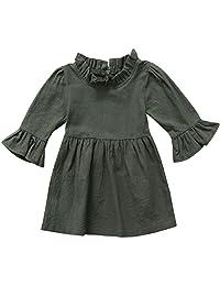 Annvivi Fall & Winter Baby Girls Dark Natural Olive Linen Ruffled Pullover Dress