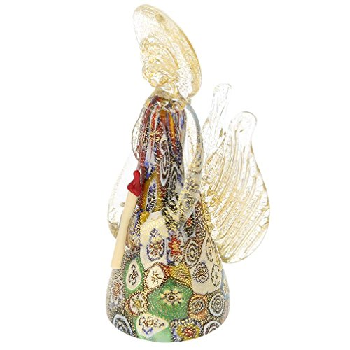(GlassOfVenice Murano Glass Golden Quilt Millefiori Angel )