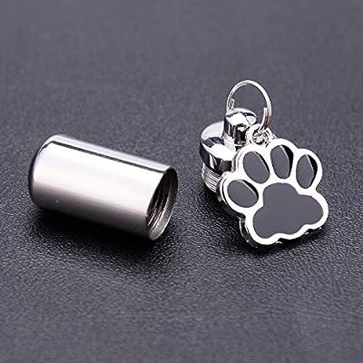 Urna de cremaci/ón para perro 3.8cmx1.1cm color negro Ala K-Y acero inoxidable