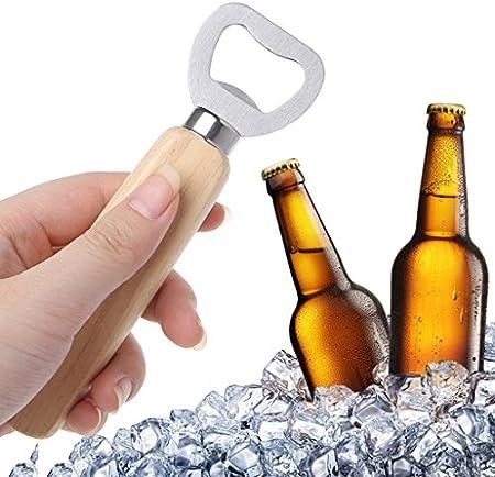 MSEKKO Abridor de Botellas de Cerveza Mango de Madera Abridor de Botellas de Camarero de Mano para Abrir Bebidas Suaves de Sidra de Cerveza