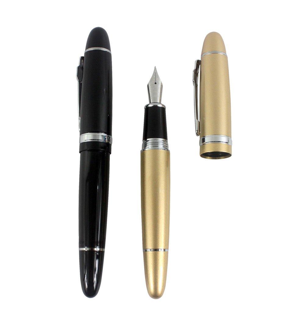 Jinhao 159 penne stilografiche di grandi dimensioni in 2 colori arancio, giallo 2 pz con tasca trasparente