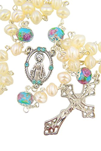 Our Lady Rosary with Aqua Cloisonne Our Father Prayer Beads