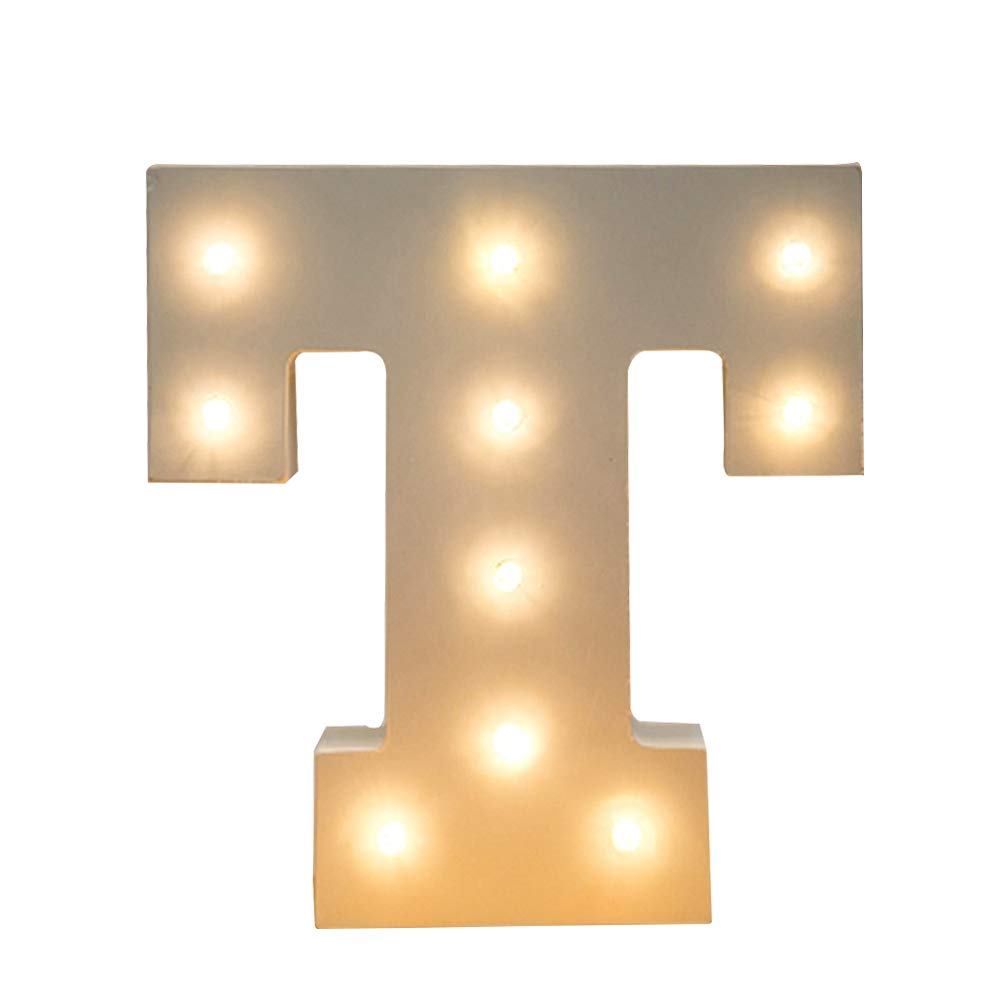 Kerong DIY LED Light up Wooden Alphabet Marquee Letter Lights for Festival Decorative Home Party Wedding Scene Holiday Birthday Christmas Valentine,Battery Operated Warm White (T)