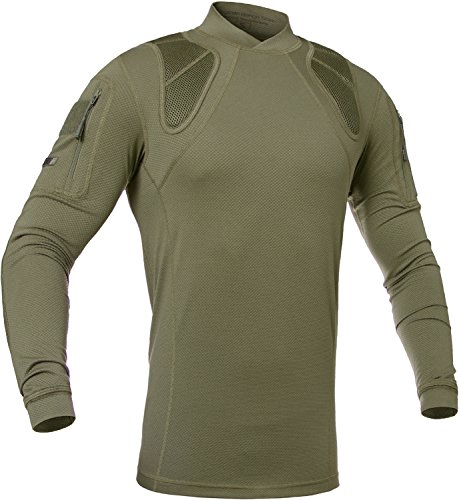Tactical Moisture Wicking Shirt - Military Training Outdoor - Polartec Delta - Frogman Line by 281Z (Large, Olive Drab)