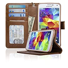 Navor Samsung Galaxy S5 / SV Book Style Folio Wallet PU Leather Case with Money Cards Pocket, Clear ID Window & Ultra Clear Screen Protector (Brown / Coffee)