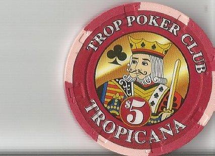 $5 tropicana poker club 1996 grand opening atlantic city new jersey casino chip obsolete