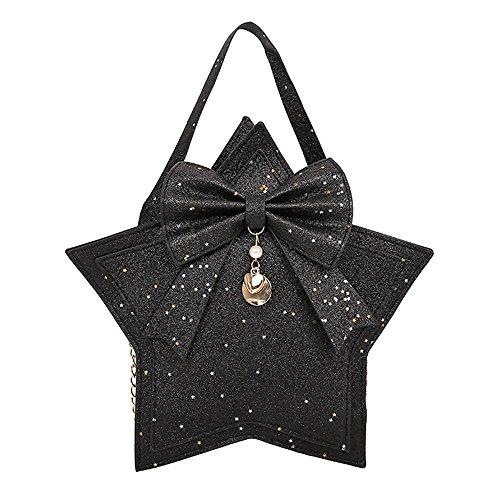 Women Crossbody Bags Hosamtel Ladies Cute Bow-knot Star Shape PU Leather Sequins Shoulder Bag Messenger Bag Rucksack Bag Purse Bag Coin Bag Phone Bag (Black) (Hobo Sequin Bag Tote)