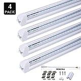 FALANFA 8ft Dual-sided V-shape Integrated LED Tube Lights 4 Pack, 72W 72000LM, AC85-277V, SMD2835 Clear Cover, Cool White 6000K, LED Cooler Door Light