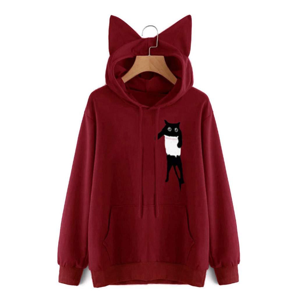 Innerternet Women's Tops Casual Long Sleeve Sweatshirt Cat Ears Hoodie Hooded Printed Tops Blouse Pullover Red by Innerternet
