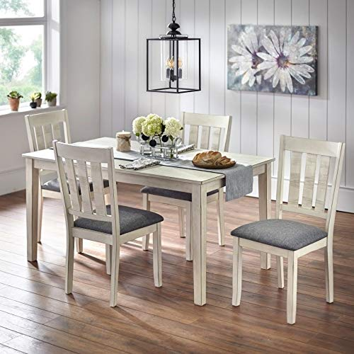 Simple Living Olin Barn Wood Dining Set Antique White 4 5-Piece -
