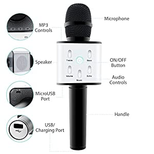 Wireless Karaoke Microphone: Handheld System Machine For Kids With Bluetooth Speaker Player Best Portable Multipurpose Professional Vocal Mixer Mic Sing Songs And Play Music For Apple & Android