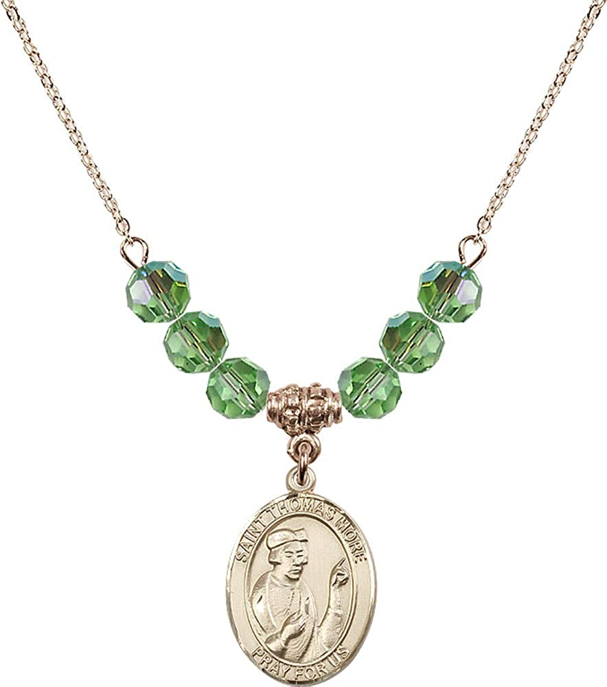 Bonyak Jewelry 18 Inch Hamilton Gold Plated Necklace w// 6mm Green August Birth Month Stone Beads and Saint Thomas More
