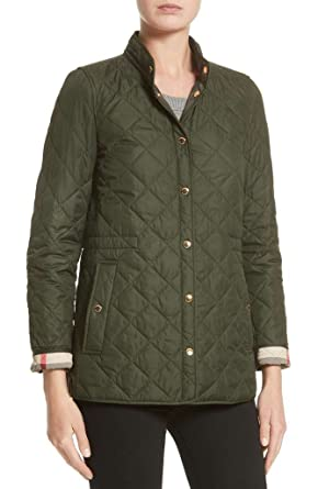 BURBERRY Womens PENSHAM Check Cuffs Diamond Quilted Jacket in ... : quilted jacket green - Adamdwight.com