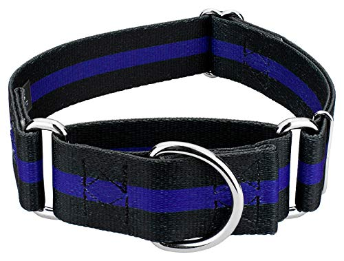Country Brook Petz - 1 1/2 Inch Thin Blue Line Martingale Dog Collar - - Blue Show Dog Collar