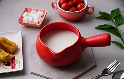 (Leermart Ceramic Warmer Milk Butter Mini Saucepan Cookware Kitchen Cookware Pot(500ml) (red))