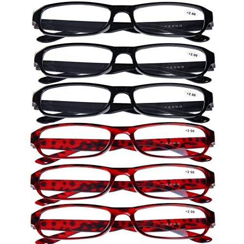 6 PRS of Southern Seas Stylish +4.50 Reading Glasses(3xBlack, 3xBrown) Mens Womens Spectacles ()