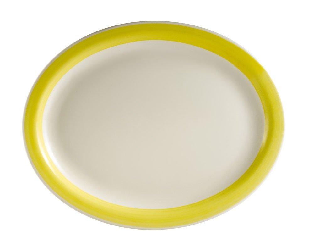 CAC China R-13NR-YELLOW Rainbow Narrow Rim 11-1/2-Inch by 9-Inch Yellow Stoneware Oval Platter, Box of 12