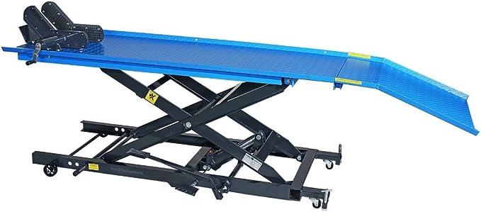 Pro Lift Montagetechnik Plb450 Khj Scherenbühne Motorradhebebühne 450kg Mit Fußpumpe Blau 02052 Baumarkt