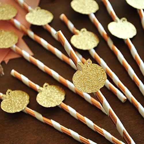 Rose Gold Straws with Pumpkins 10CT. Little Pumpkin Baby Shower Decorations. Rose Gold Party Supplies. - Little Pumpkin Baby Shower