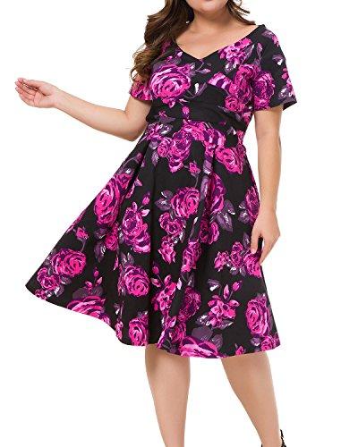 - Women's Plus Size Vintage Floral Print Surplice V Neck Short Sleeve Swing Party Dress Black Flower 16W