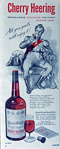 Cherry Heering Liqueur, 50's Print Ad. full Page Color Illustration (since 1818) Original Vintage, Rare 1957 Esquire Magazine (Heering Cherry Liqueur)