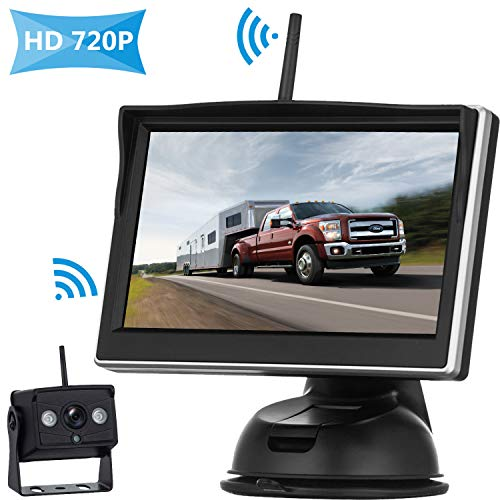 HD 720P Digital Wireless Backup Camera System For RVs/Trucks/Trailers/Vans/ Pickups With 5