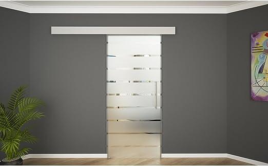 Puerta corredera de cristal con cierre suave cristal de la puerta corredera puerta de cristal 775 x 2050 rayas alargado: Amazon.es: Bricolaje y herramientas
