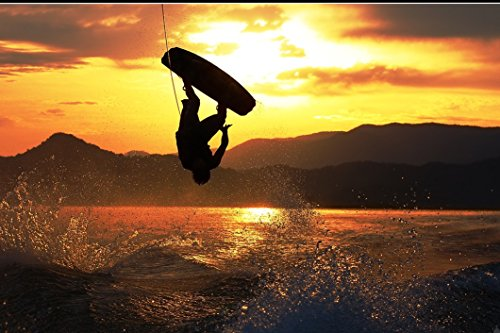 DNOVING Poster Stylish Art Print Wakeboarding Pattern Print Wall Decorative Wall Poster 20-Inch by 30-Inch