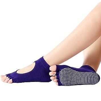 LUNA VOW Los Calcetines de Yoga con agarres para Las Mujeres ...