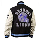 Hills Cop Axel Foley Beverly Cotton Fleece Detroit Lions Vintage Sports 90210 Letterman Jacket (XXX-Large) Black