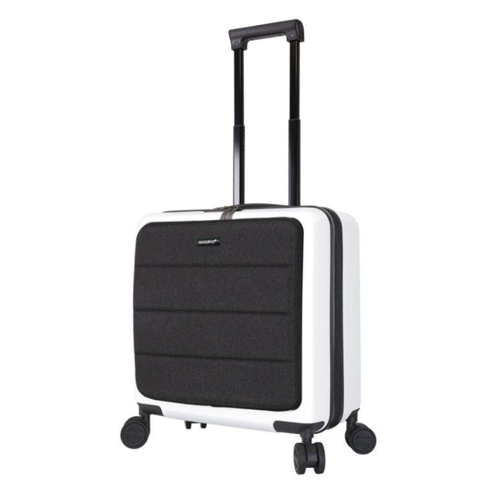 スーツケース 荷物拡張可能スーツケースPC + ABSスピナー18インチミニスピナー旅行荷物トロリーケースソフトシェルハードサイド付きTSAロック (色 : 白, サイズ : 18inches) B07VC5VW4D 白 18inches