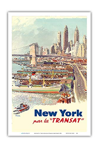 Pacifica Island Art - New York City - Travel by Boat (Par La Transat) - Vintage Travel Poster by Albert Brenet c.1950s - Master Art Print - 12in x 18in -