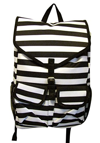 Black and White Stripe High Fashion Print Back to School Backpack Back pack with 2 Large Exterior Pockets (2 Exterior Pockets)