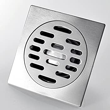 rovate square shower floor drain with removable strainer sus 304 stainless steel 4inch tile insert shower drain grate chrome