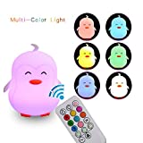 LED Baby Kids Night Light Silicone Soft Nursery Lamp for Children Toddler Boys Girls, Color Changing Rest Light with Control,Lovely Penguin Type House Night Lamp with USB Charging Port. For Sale